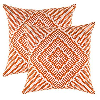 TreeWool, (2 Pack) Throw Pillow Covers Kaleidoscope Accent Decorative Pillowcases Toss Pillow Cushion Shams Slips Covers for Sofa Couch (18 x 18 Inches / 45 x 45 cm; Orange), White Background