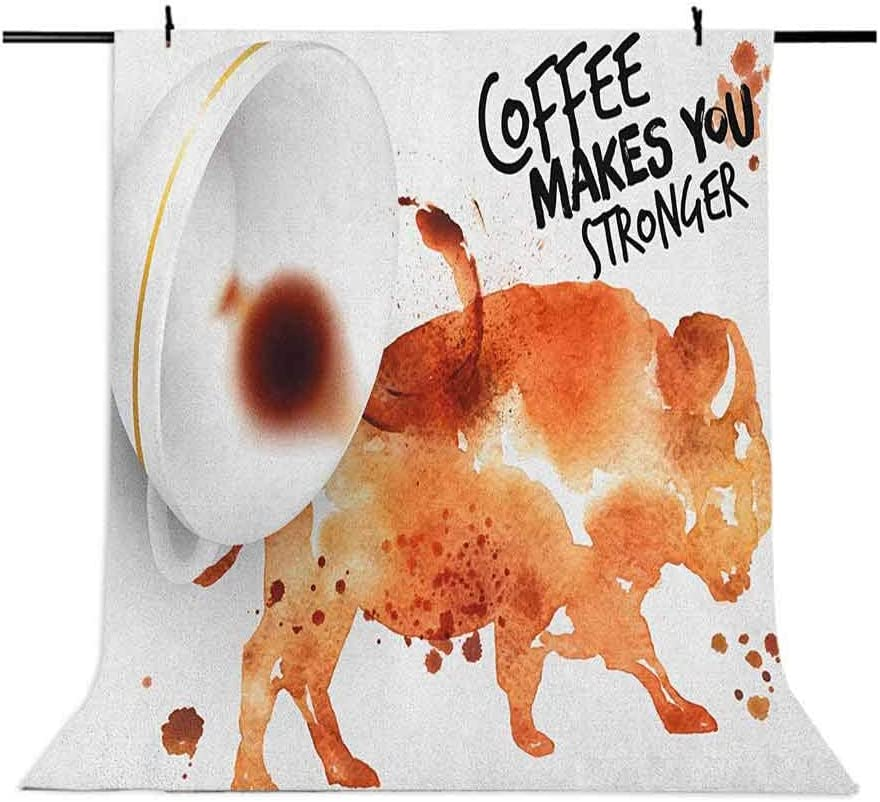 8x12 FT Coffee Art Vinyl Photography Backdrop,Conceptual Design with Inverted Americano Cup Strong Animal Bull Background for Baby Shower Bridal Wedding Studio Photography Pictures