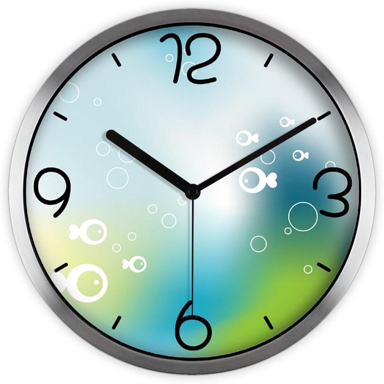 bienvenido a orden LINGZHIGAN Creativo Lindo Lindo Lindo Pequeo Pescado Arte de la Historieta Reloj de Parojo de Cuarzo Dormitorio de los Nios Sala de estar Mudo Reloj de Parojo Decorativo, 30  30  4.5 cm ( Color   La Plata )  venta caliente