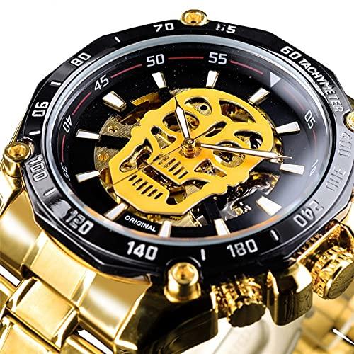Excellent Relojes de Pulsera para Hombres Reloj mecánico de Acero Inoxidable 3atm 30 Metros Reloj de Pulsera Luminosa con Correa de Acero Inoxidable, Reloj para Hombres, Regalo para él,A02