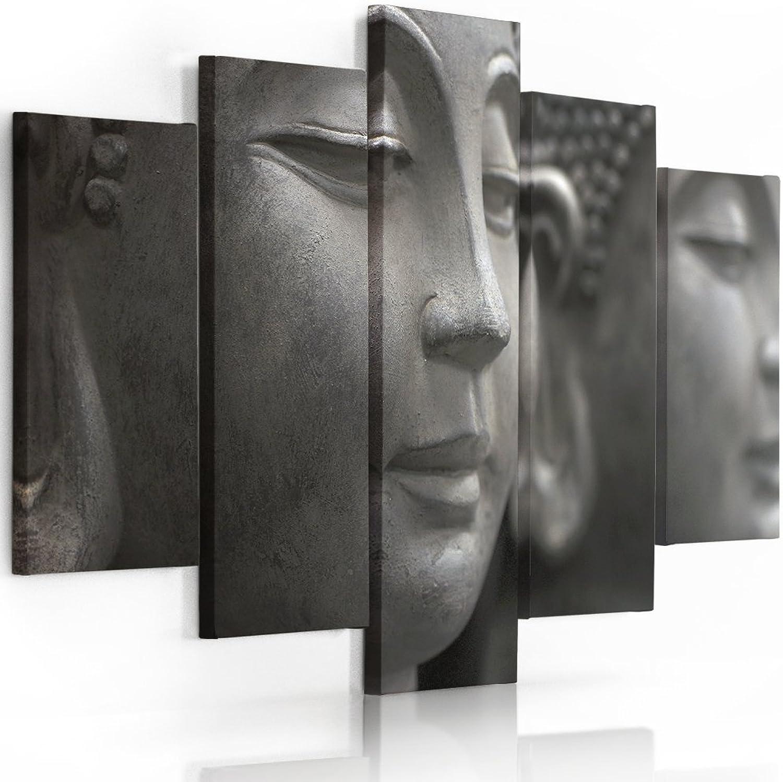 Feeby Frames, Leinwandbild, Leinwandbild, Leinwandbild, Bilder, Wand Bild - 5 Teile - Wandbilder, Kunstdruck, 120x250 cm, Typ A, Buddha GRAU B01MDKMPMR f2392c