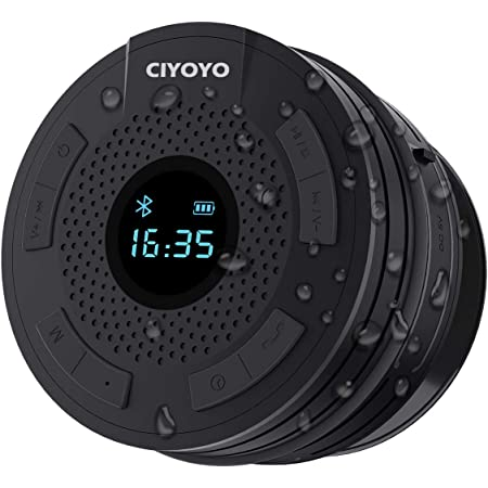 Shower Radio Bluetooth Speaker 5.0 Waterproof Bathroom Radio, CIYOYO Wireless Shower Speakers with Clock Suction Cup Lanyard FM Radio LCD Display Built-in Mic 10 Hours Music Play