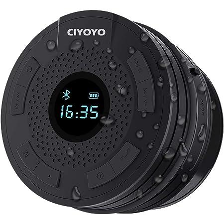 Shower Radio Bluetooth Speaker 5.0 Waterproof Bathroom Radio, CIYOYO Wireless Shower Speakers with Clock Suction Cup Lanyard FM Radio LCD Display Built-in Mic 10 Hours Music Play
