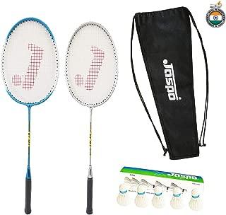 Jaspo GT 303 Intact Sliver/Blue Badminton Set(2 Badminton Racket,5 Feather Shuttle Cork,Carry Bag)