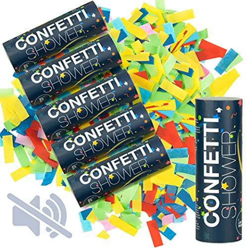 ILP 6 x Confeti Cumpleaños Cañon sin Estallido - Cañon Confeti Boda una Colorida ddiversión - para Fiesta de Cumpleaños Nochevieja y Bodas - 15 cm