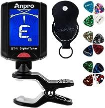Anpro GT-1 Accordeur de Guitare Tuner 360 Degrés Rotation Digital Timbre Ecran LCD 12PCS Médiators Avec Pochette Pour Violon ,Ukulélé Chromatique Convenable Aux Gamme Tempérée