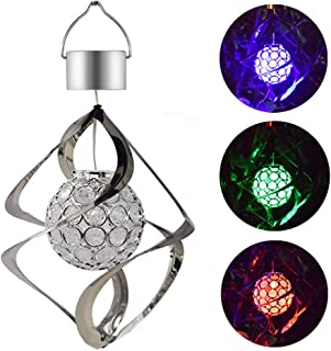 Solar LED Wind Chimes Light,Moving Rotating Colorful Night Light,Color Changing Outdoor Crystal Ball Spinner Hanging Spiral Decorative Light Lamp for Garden Lawn Balcony Porch Window (Silver)