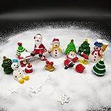 Emien 26 pièces Style Noël miniature Ornement Ensemble de Kits pour DIY Fairy Garden Décoration de maison de poupée, Sable Blanc, Père Noël, sapins de Noël, bonhomme de neige, flocon de neige