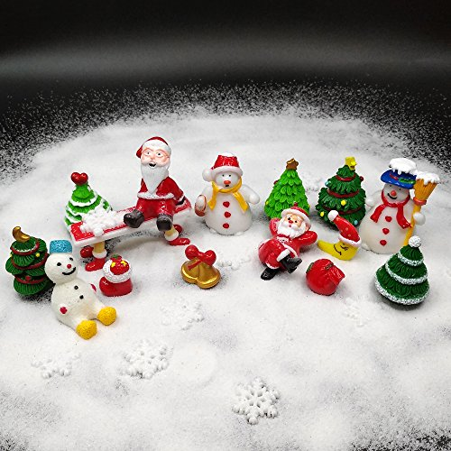 EMiEN 26 Pieces Christmas Style Miniature Ornament Kits Set for DIY Fairy Garden Dollhouse Decoration, White Sand, Santa,Christmas Trees,Snowman,Snowflake,Red Socks,Bell, Bag,Moon,Bench