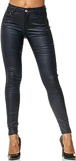 c6c1995f7b Dames Treggings Pantalon Cuir Optique Cuir Imitation Cuir Skinny D2476