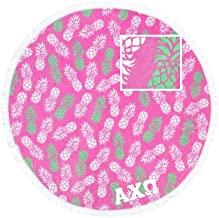 Alpha Chi Omega Beach Towel Pineapple Print with Stitched Letters