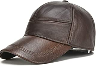 Hat Fashion Men's Hat Pure Leather Winter Warm Hat Outdoor Sports Hat Leather Baseball Hat Baseball Cap Fashion Accessories (Color : Brown, Size : 56-60CM)