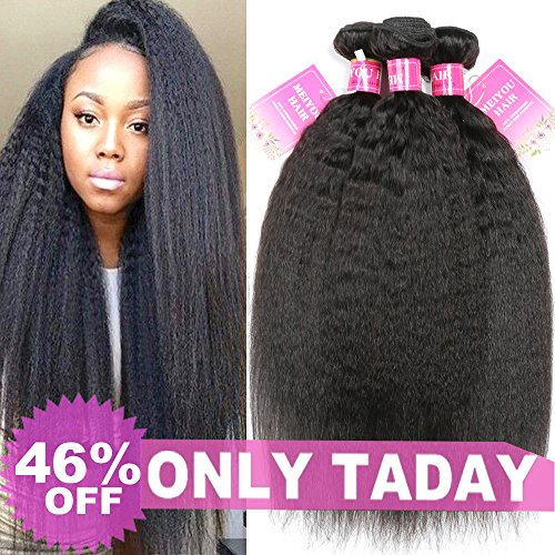 Mei You 9A Kinky Straight Hair 3 Bundles Yaki Human Hair Weave Unprocessed Brazilian Virgin Remy Sew in Hair Extensions Natural Black (10.12.14)