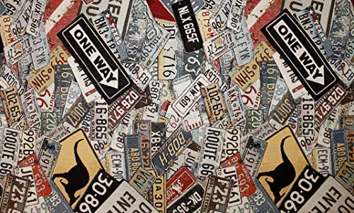 Generico Tessuto al Metro Gobelin Jacquard Targhe Segnali stradali mondiali- 400 gr/mq - Altezza 140 cm - 1 QTA = 50 cm lineare - per Cucire Borse, Tende, Cuscini, divani, tappezzeria o tendaggio