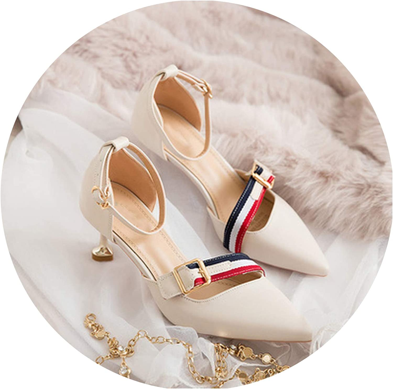 Smile-xj Women Sandals Pointed Stiletto high Heels Simple Shallow Mouth Womens shoes Temperament Single shoes