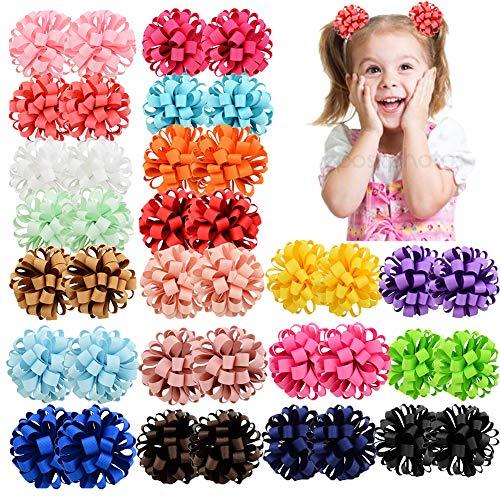 40 stücke Baby Mädchen Bogen Elastische Haargummis 3 zoll Ripsband Haarband Pferdeschwanz Halter Haarschmuck für Kinder Kleinkinder