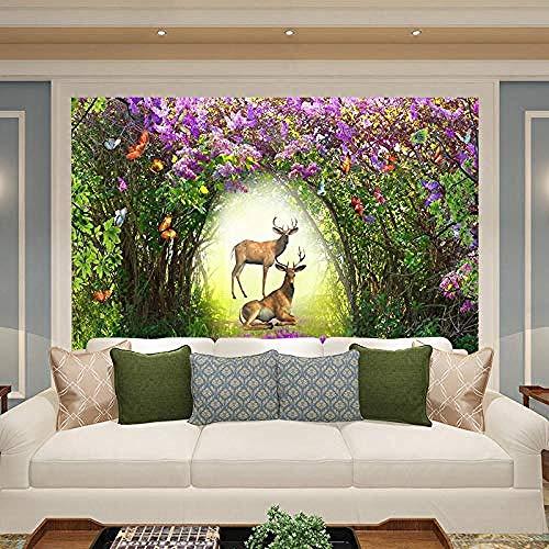 Papel pintado de lavanda púrpura romántico nórdico Mural dormitorio sala de estar bosque alce papel Pared Pintado Papel tapiz 3D Decoración dormitorio Fotomural sala sofá pared mural-200cm×140cm