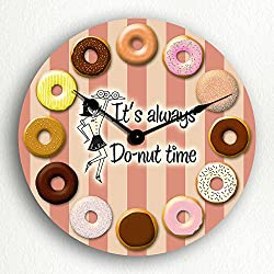 Classical Creations It's Always Donut Time Retro Theme Doughnut 12 Silent Wall Clock