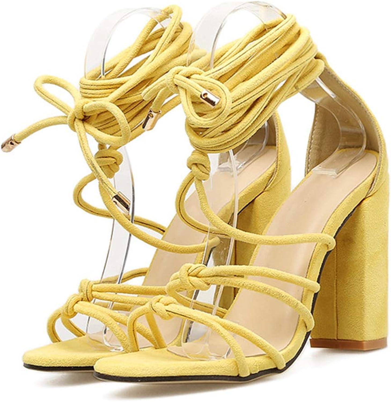 Women High Heels Cross Strap Thick Heel Sexy Peep-Toe Fashion Sandals 10CM