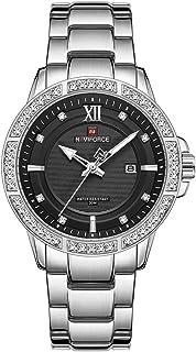 NAVIFORCE ساعات فاخرة الماس للرجال الفولاذ المقاوم للصدأ ساعة تناظرية كوارتز كوارتز كوارتز كوارتز كوارتز كوارتز ساعة مضيئة