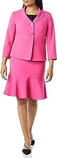 Le Suit Women's 3 Button Crepe Skirt Suit