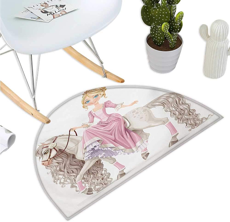 Teen Girls Semicircular Cushion Pretty Smiling Princess on A White Horse with A Long Mane Happiness Theme Print Bathroom Mat H 51.1  xD 76.7  Cream Pink