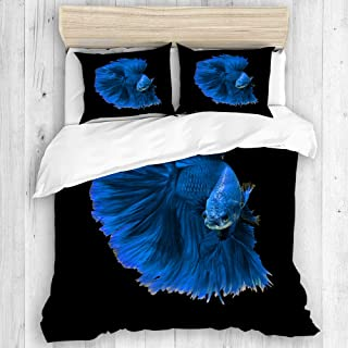 DAHALLAR Duvet Cover Set,Colorful Fancy Blue Dragon Siamese Fighting Fish Betta Aggressive Crown,Decorative 3 Piece Bedding Set with 2 Pillow Shams Twin Size