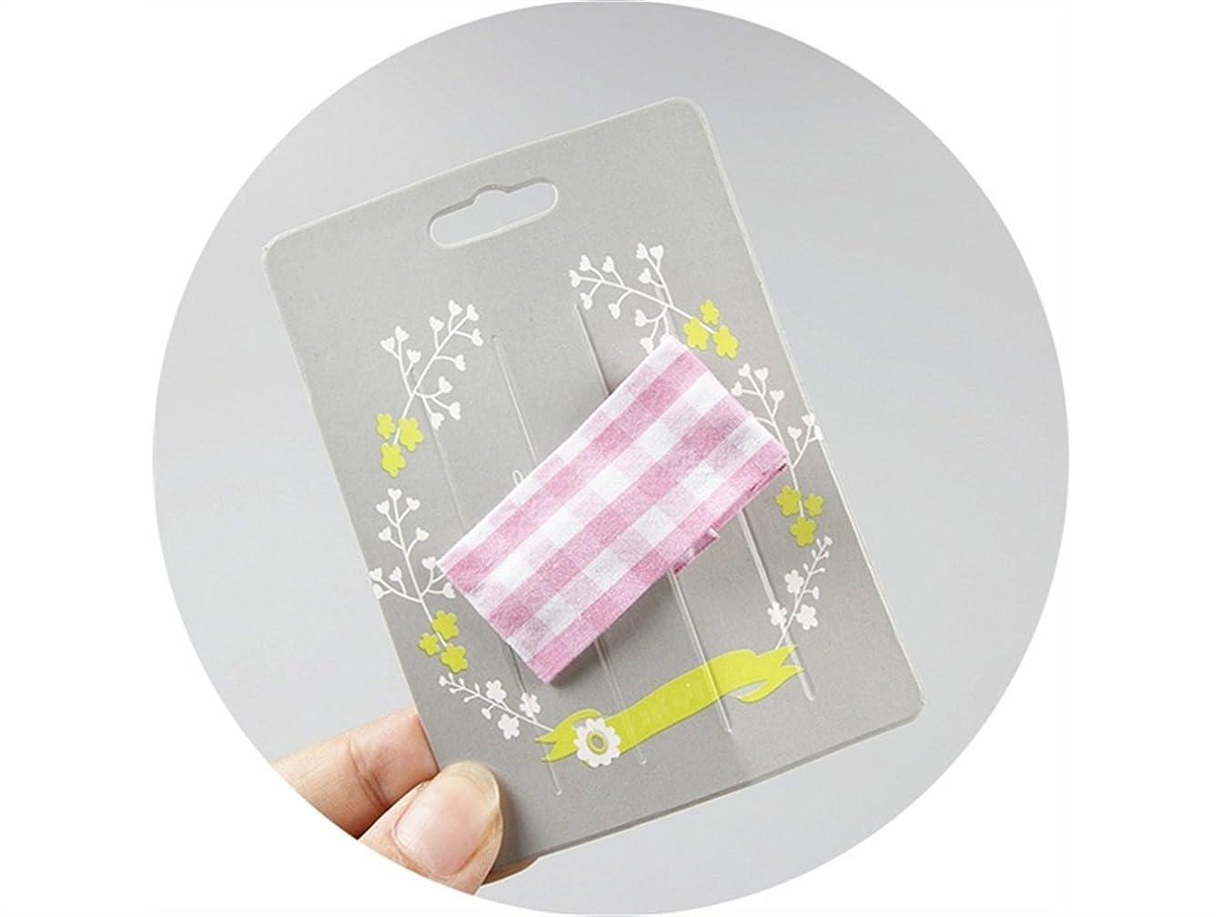 協力するインターネットすべきOsize 美しいスタイル 子供用ヘアアクセサリーチェック柄ファブリック長方形ヘアクリップダックビルクリップ(ピンク)