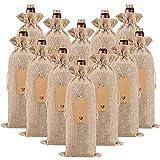 HOMUM 12 Pcs Premium Burlap Wine Bags, Wine Gift Bags with Drawstrings - Reusable Wine Bags, Wine...