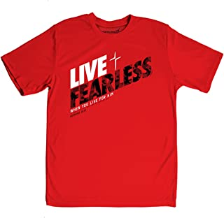 Live Fearless Kerusso Men's Active Tee (Small) Red