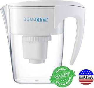 Aquagear Water Filter Pitcher Fluoride Lead Chloramine Chromium 6 Filter Bpa Free Clear Replacement Water Filters