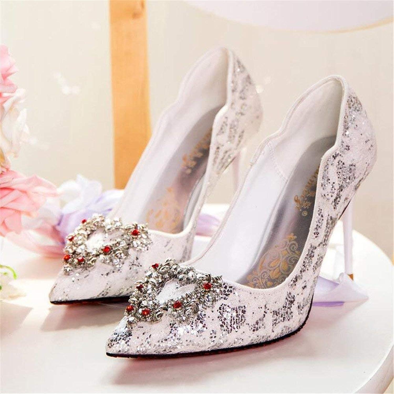 Eeayyygch Gericht Schuhe Rote Brautschuhe Hochzeit Schuhe weibliche Einzelne Schuhe Strass Spitze High Heels gut mit weißen Hochzeit Hochzeit Schuhe (Farbe   37, Größe   Champagne 8CM)  | Rich-pünktliche Lieferung