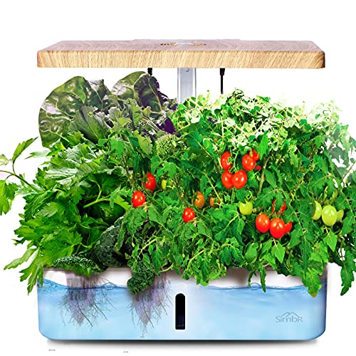 SIMBR 12 Pods Hydroponic Growing System Indoor Herb Garden Kit, Starter Kit with LED Grow Light, Fan and Water Pump, 4L, Smart Planter for Home Kitchen Gardening