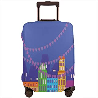 Travel Luggage Cover,Traditional Scandinavian Streets By The Water Channel With Ornamental Hearts Suitcase Protector