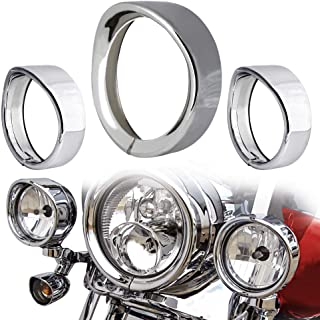 """NTHREEAUTO Chrome Motorcycle Lights Frenched Ring Kit Compatible with Harley, 7"""" Headlight Trim Ring Decorate Visor + 4 1/2"""" Fog Light Trim Ring Decorate Visor(Chrome)"""
