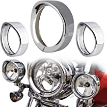 NTHREEAUTO Chrome Motorcycle Lights Frenched Ring Kit Compatible with Harley, 7