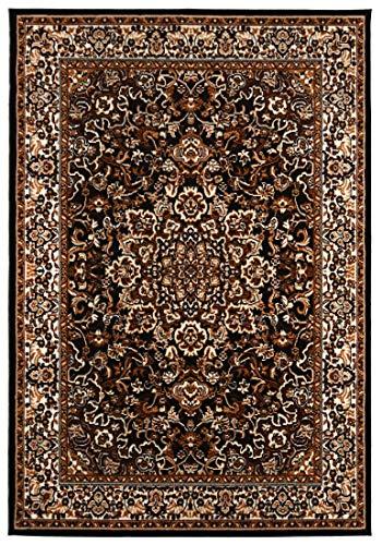 Carpeto Rugs Kurzflor Teppich - für Wohnzimmer, Schlafzimmer, Esszimmer - Braun Schwarz - Orientalisch Muster - 120 x 170 cm