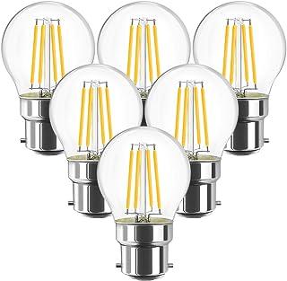 6 Unidades 4.5W Bombillas LED con Filamento B22, 470 Lúmenes, 2700K Blanco Cálido, G45 Golf Lámpara Vintage Retro Decorativa, No Regulable -ANWIO.