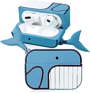 TONVER AirPods Pro ケース シリコン製 3D 全面保護 耐衝撃 耐久性 防汚 滑り止め キズ防止 着装まま充電可能 漫画 可愛い 萌え萌え 人気 エアーポッズ プロ カーバ(サメ)