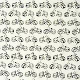 Dekostoff Fahrrad weiß schwarz grau 137cm