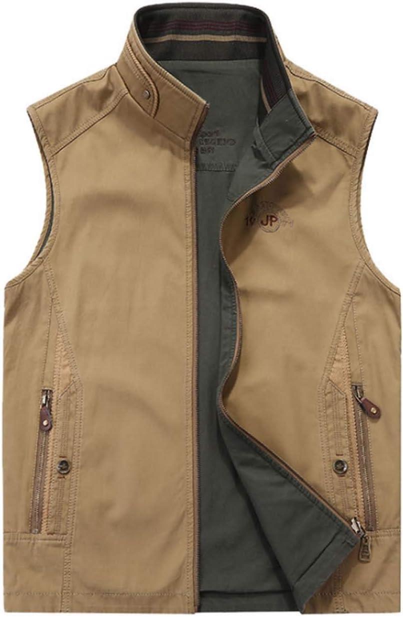 XMZFQ Men's Multi Pocket Vest Cotton Waistcoat Stand Collar Gilet Spring and Autumn Sleeveless Jacket Outdoor Outerwear Top Wearable on Both Sides,Khaki,XXXL
