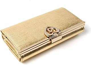 [OMNIA]オムニア ダブルハート 三つ折れ 長財布 がま口+内ファスナー小銭入れ付き(本革 イタリアンレザー)OM-WW3077A-GD