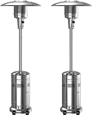2 Set 48,000-BTU Umbrella Patio Propane Heater with Wheels,Stainless Steel Patio Heater,Stainless Steel Floorstanding Liquid