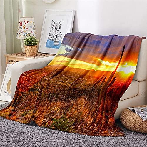 Mantas para Sofa Batamanta Mujer de Franela y Sherpa Manta Bebe Sofa Mantas con Estampados para la Cama y el Sofá 150x200 cm Desierto al Atardecer