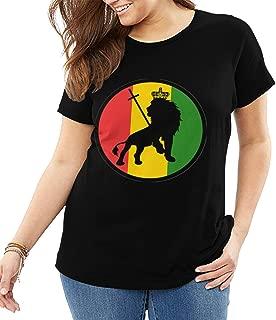 Lion of Judah Jamaican T-Shirt Womens Big Size Exercise Gym Shirts Size: XL-6XL