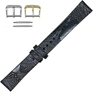 Made in The USA - Genuine Ostrich Leg Flat Watch Strap Band - American Factory Direct - Gold and Silver Buckles - Real Leather Creations