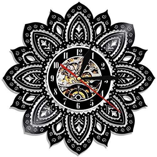 Reloj de pared de vinilo con diseño de mandala, para amantes de los hombres, mujeres, adolescentes y niños, regalos únicos, decoración de pared, obras de arte negro de 12 pulgadas