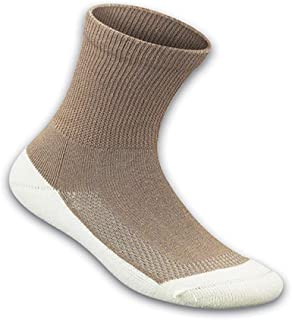 Orthofeet Padded Sole Non-Binding Non-Constrictive Circulation Seam Free Bamboo Socks Brown, 3 Pack