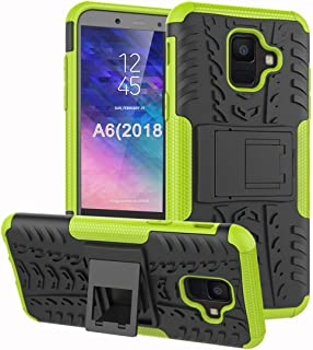 Samsung Galaxy A6 Case, Yiakeng Dual Layer Shockproof Wallet Slim Protective with Kickstand Hard Phone Case Cover for Samsung Galaxy A6 2018 (Green)