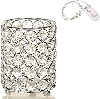 VINCIGANT Silver Cylinder Crystal Tealight Candle Holder Candlesticks/Pen Holders for Home Office Decoration with LED Copper Wire String Light